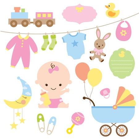 Photo pour Vector illustration of baby and related items  - image libre de droit