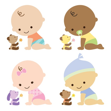 illustration of baby boys and baby girl with cute teddy bears