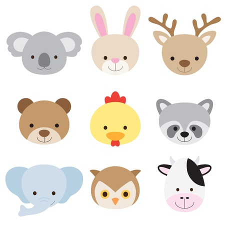 Foto de Vector illustration of animal faces including koala, rabbit, deer, bear, chicken, raccoon, elephant, owl, and cow - Imagen libre de derechos