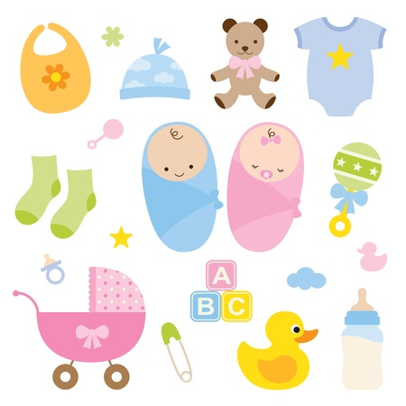 Photo pour Vector illustration of babies and baby products  - image libre de droit