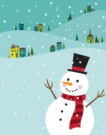 Illustration for Vector illustration of a snowman with winter background  - Royalty Free Image