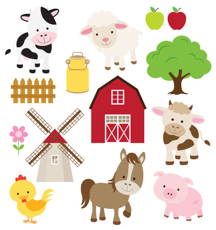 Photo pour Vector illustration of farm animals and related items  - image libre de droit