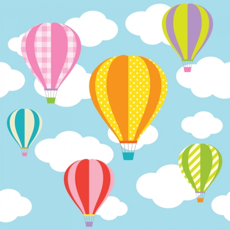 Illustration pour Vector illustration of colorful hot air balloons on the blue sky   - image libre de droit