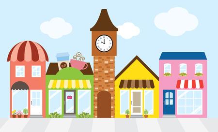 Illustrazione per Vector illustration of strip mall shopping center. - Immagini Royalty Free