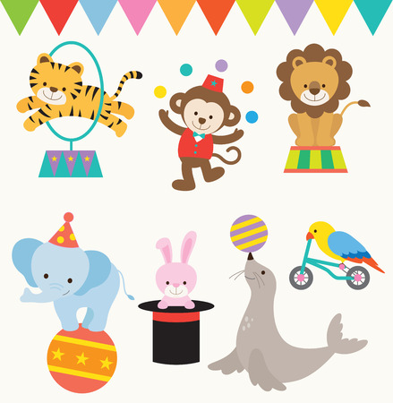 Photo pour Vector Illustrations of animals perform in circus. - image libre de droit
