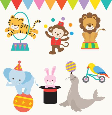 Photo pour Vector Illustrations of animals perform in circus. - image libre de droit