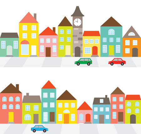 Illustration pour illustration of a town scene with row of houses along the street and cars. - image libre de droit