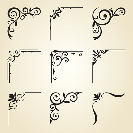 Foto de Vector illustration of decorative corner frame set. - Imagen libre de derechos