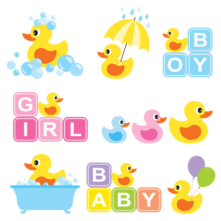 Ilustración de Vector illustration of yellow rubber duck for baby shower. - Imagen libre de derechos