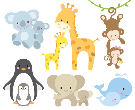 Photo pour Vector illustration of animal and baby including koalas, penguins, giraffes, monkeys, elephants, whales. - image libre de droit