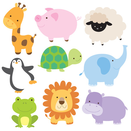 Illustration for Vector illustration of cute baby animal including giraffe, pig, turtle, sheep, penguin, elephant, frog, lion and hippo. - Royalty Free Image