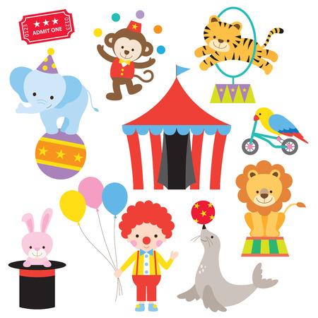 Ilustración de Vector illustration of cute and colorful circus animals. - Imagen libre de derechos