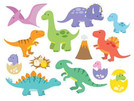 Illustration pour Vector illustration of dinosaurs including Stegosaurus, Brontosaurus, Velociraptor, Triceratops, Tyrannosaurus rex, Spinosaurus, and Pterosaurs. - image libre de droit