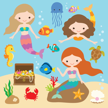 Illustrazione per Vector illustration of cute little mermaids with fishes, jellyfish, starfish, crab, turtle, seahorse, shells, and treasure chest under the sea. - Immagini Royalty Free