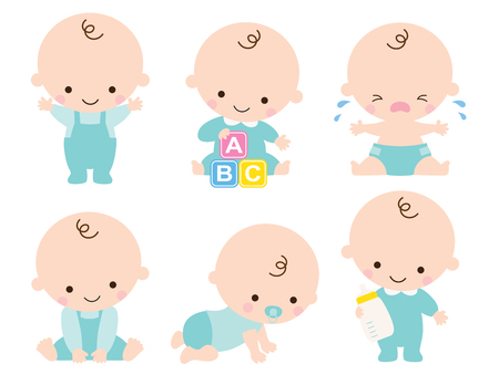 Ilustración de Cute baby or toddler boy illustration in various poses such as standing, sitting, crying, playing, crawling. - Imagen libre de derechos