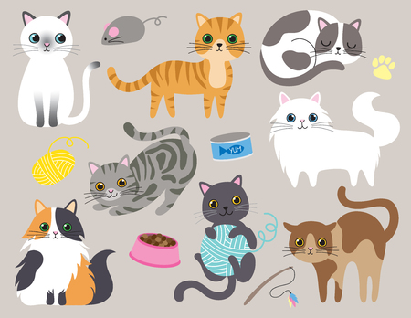 Illustration pour Cute kitty cat vector illustration set with different cat breeds, toys, and food. - image libre de droit