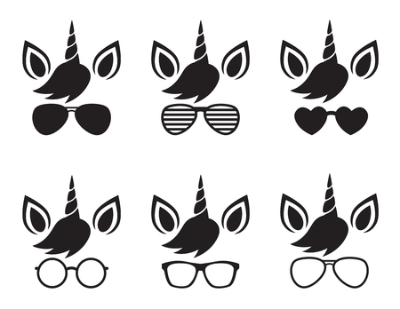 Illustration for Cute unicorn wearing glasses and sunglasses face silhouette vector illustration. - Royalty Free Image