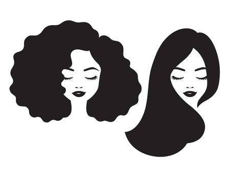 Illustration pour Beautiful woman and black African American woman face with afro and long straight hair vector illustration. - image libre de droit