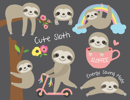 Ilustración de Vector illustration of cute baby sloth in various activities - Imagen libre de derechos