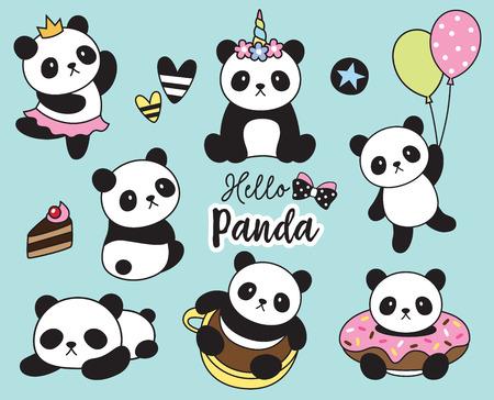 Illustration pour Vector illustration of cute baby panda set. - image libre de droit