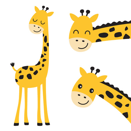 Illustration pour Cute smiling and peeking giraffe vector illustration. - image libre de droit