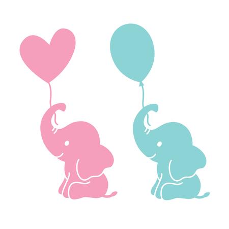 Illustration pour Cute baby elephants holding heart shape and oval balloons silhouette vector illustration. - image libre de droit