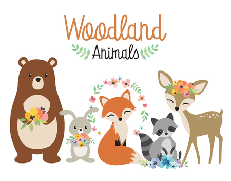 Illustration pour Cute woodland forest animals vector illustration including bear, bunny rabbit, fox, raccoon, and deer. - image libre de droit