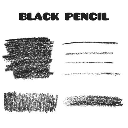 Illustrazione per Set of pencil art objects. Sketch design. Black pencil texture. Grunge background. Vector illustration. - Immagini Royalty Free