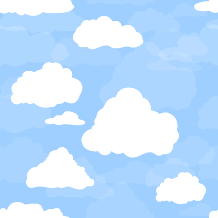 Illustration pour Blue sky with white clouds. Hand drawn seamless pattern. Vector illustration in cartoon style. - image libre de droit