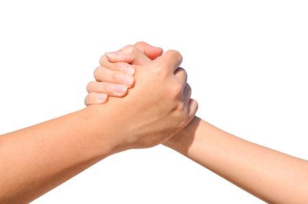 Foto de Partner hand between a man and a woman isolated on white background - Imagen libre de derechos