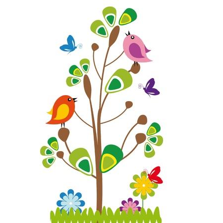 Illustration pour Cute kids cartoon with tree and birds - image libre de droit