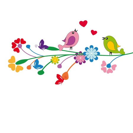 Cute kids cartoon with flowers and birds