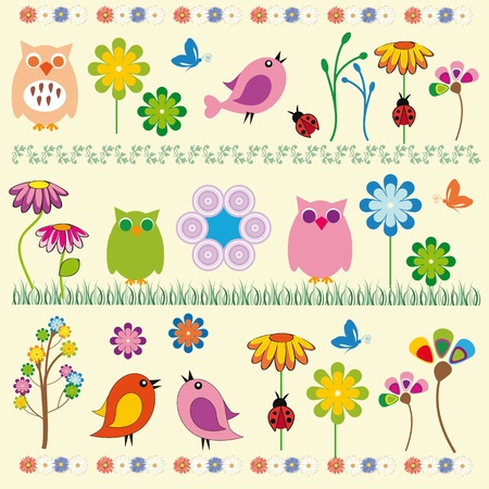 Cute kids background with flowers and birds