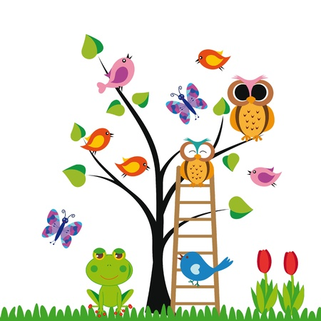 Photo pour Cute kids background with trees and birds - image libre de droit