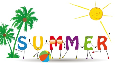 Word summer with colorful and funny letters
