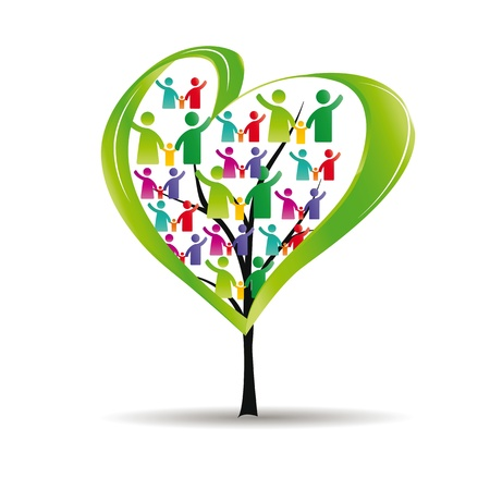 Photo for Abstract and colorful figures showing happy peoples and tree with heart - Royalty Free Image