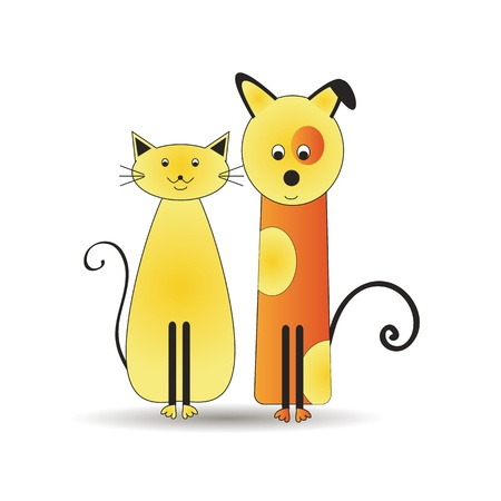 Illustration pour Abstract and cute colorful cats and dog - image libre de droit