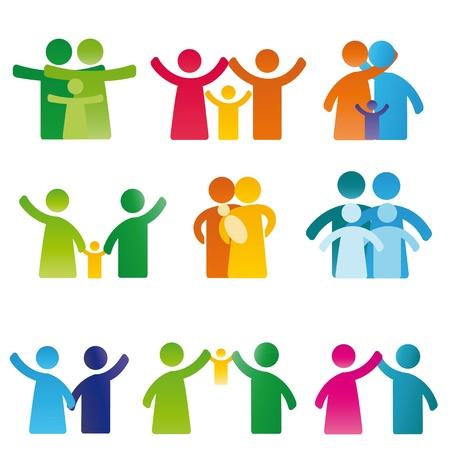 Photo pour Simple and colorful pictogram showing figures happy family - image libre de droit