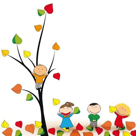 Ilustración de Cute and happy kids play in the autumn leaves  - Imagen libre de derechos