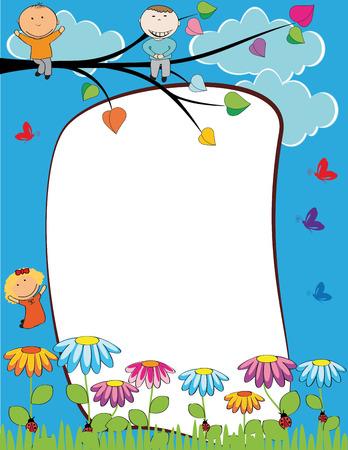 Ilustración de Cute kids frame with happy boys and girls - Imagen libre de derechos