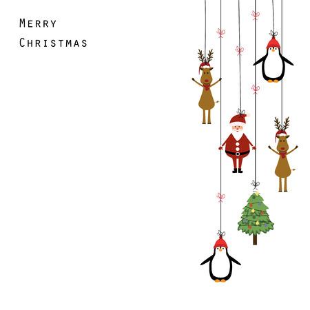 Illustration pour Cute christmas card with Santa, reindeer and penguin - image libre de droit