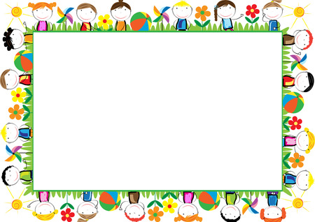 Illustration pour Colored frame for children with happy boys and girls - image libre de droit