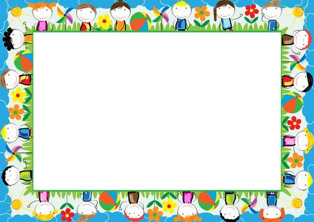 Ilustración de Colored frame for kids with happy boys and girls - Imagen libre de derechos
