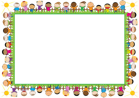 Illustration pour Colored frame with happy boys and girls - image libre de droit