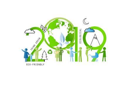 Ilustración de Concept of the earth day 2019, ecological and family-friendly environment. Vector illustration in thin line style. - Imagen libre de derechos