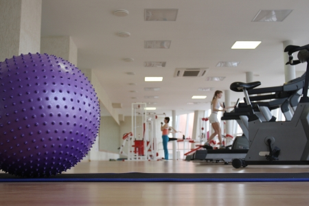Ball and treadmills in the health club