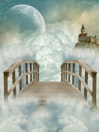 Photo pour Fantasy Landscape with bridge and old castle - image libre de droit