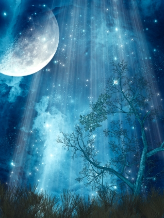 Photo pour fantasy landscape with big moon in the forest - image libre de droit