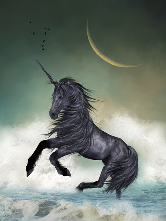 Photo for Unicorn in the ocean with big moon - Royalty Free Image