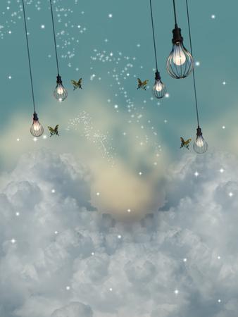 Foto de Fantasy landscape in the sky with butterfly and light bulb - Imagen libre de derechos